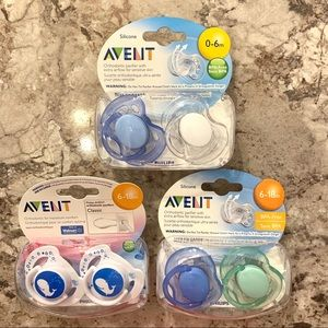 Avent Pacifiers (two 0-6 mos, four 6-18 mos)